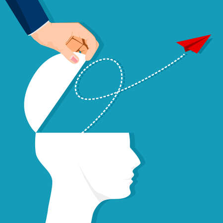 A paper plane flew out of a human head. leadership style. vector illustration. business concept Illustration
