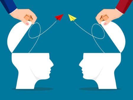 The human head was opened and a paper plane flew out. business competition concept. vector