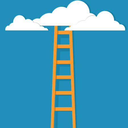 The stairs leading to the clouds. Symbol of new opportunities or career ladder. business concept
