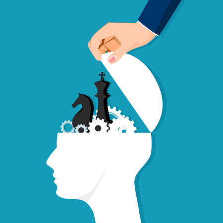 The human head was opened with gears and chess pieces. business strategic idea. business concept Illustration