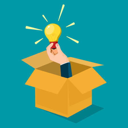 Businessmen think outside the box. different creative ideas. business concept