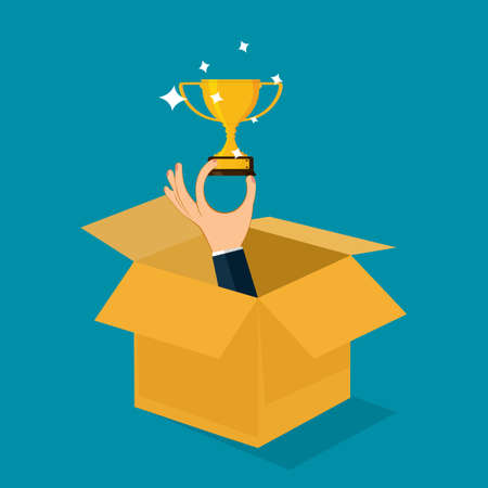 Businessman holding a trophy. Out of the box concept. different creativity. business concept