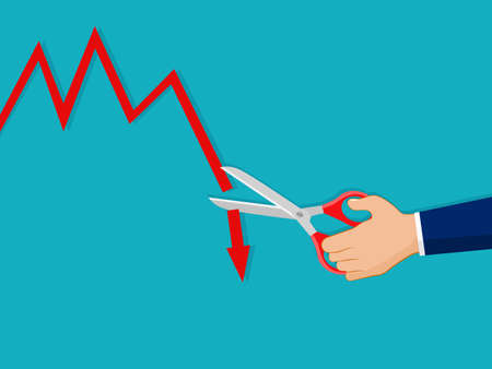 A businessman uses scissors to cut a downward graph. The concept of cutting losses. finance concept