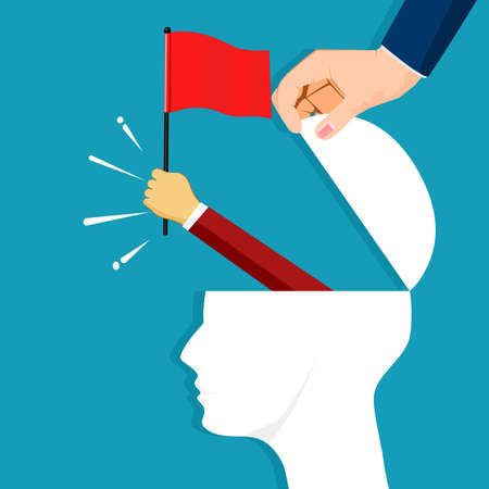 The human head opened and the businessman raised a red flag. victory concept. business concept Illustration