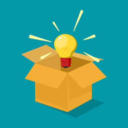 Light bulbs and boxes. Think outside the box. Business ideas for innovation. business concept