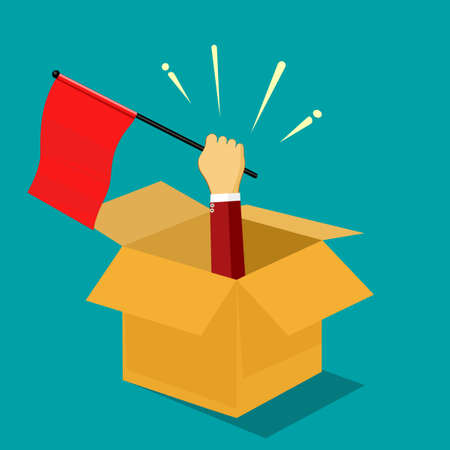 A businessman raises a red flag out of a box. out of the box concept. vector .business concept