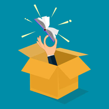 Businessman holding a book out of a box. Learning outside the box. vector illustration. business concept