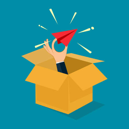 Businessman holds a paper plane flying out of the box. Out of the box concept. vector illustration
