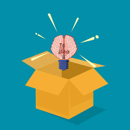 The light bulb and the brain. Concept outside the box. vector illustration. business concept Illustration
