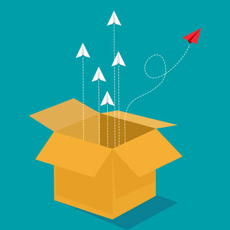 Flock of paper planes flew out of the box. out of the box concept. vector illustration. business concept