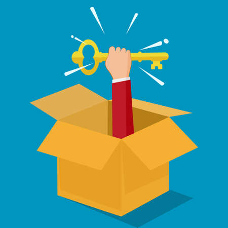 Businessman holding a key out of a box. Think outside the box. Vector illustration. business concept