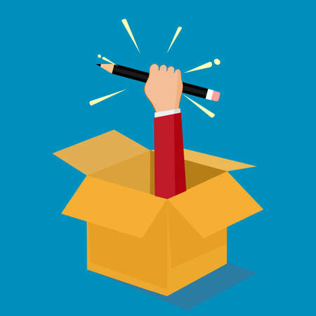 Businessman holding a pencil out of a box. Out of the box concept. vector illustration. business concept