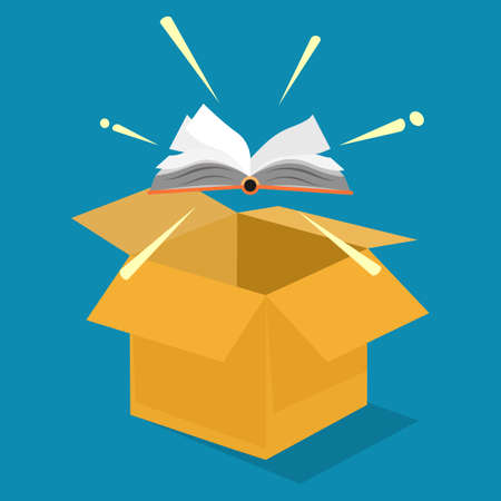 The book floated out of the box. Learning outside the box. vector illustration. business concept