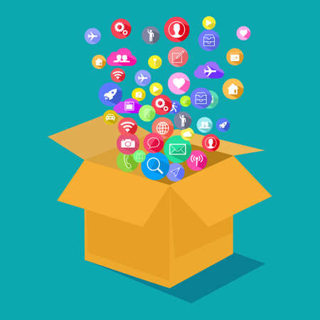 The communication icon comes out of the box. The idea is outside the box. communication concept vector illustration