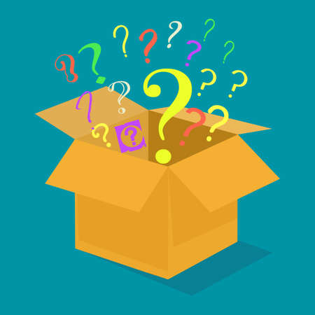 Question mark out of the box. The idea is outside the box. vector illustration. business concept