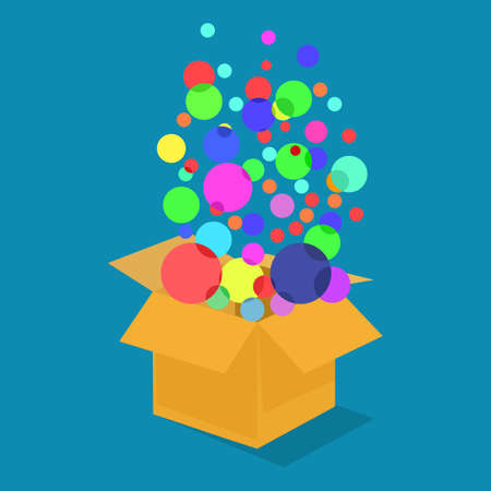 Circle bubbles float out of the box. The idea is outside the box. vector illustration. business concept Illustration