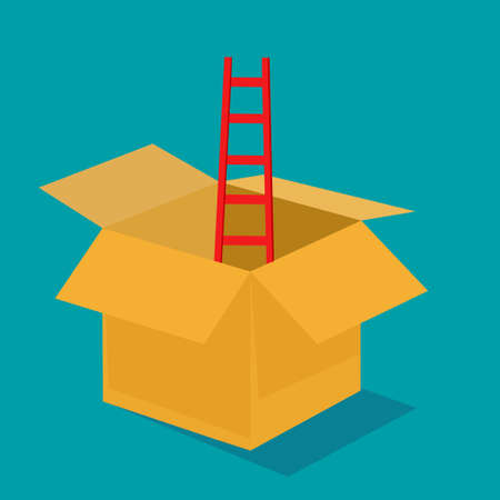Red ladder out of the box. The idea is out of the box. vector illustration. business concept