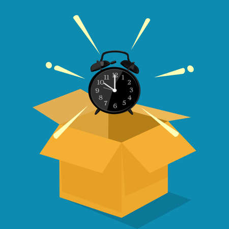 The clock floats out of the box. concept outside of normal hours. vector illustration. business concept Illustration
