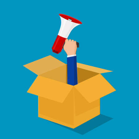 Businessman holding a megaphone and a box. Marketing by thinking outside the box