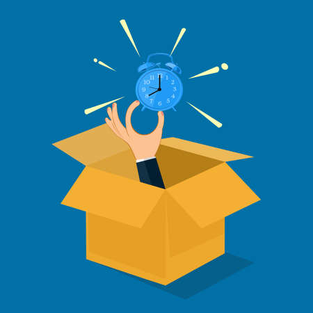 Businessman holding a watch out of a box. Out of time concept. vector illustration