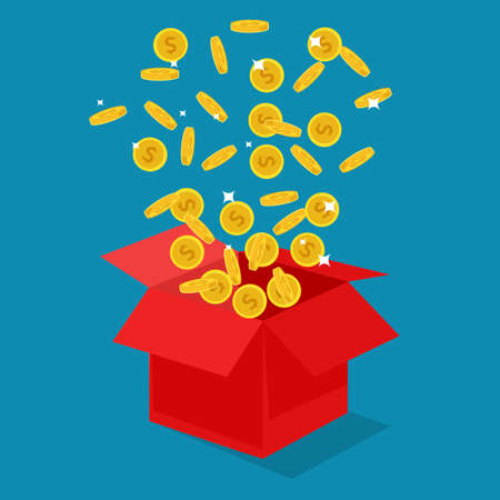 Coins floated out of the red box. award winning concept. vector illustration. finance concept