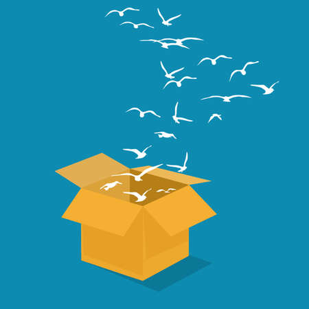 Flock of birds flew out of the box. The idea is outside the box. vector illustration. business concept
