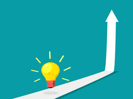 Up arrow and light bulb. The concept of growth. growth vector illustration