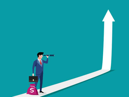 Characters and arrows go up. business profit growth concept. growth vector