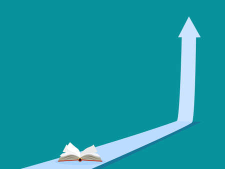 Up arrow and book. The concept of learning growth. learning vector illustration Illusztráció