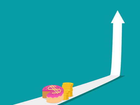 Up arrow and money cake. The concept of money profit growth. financial vector