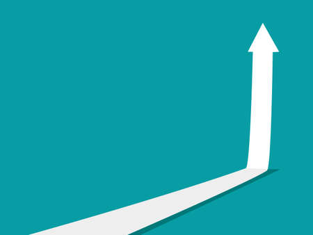 The white arrow is going up. The concept of growth. business vector illustration