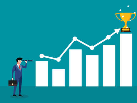 businessman looks at a graph using a telescope and a trophy is placed on an arrow. business victory vector
