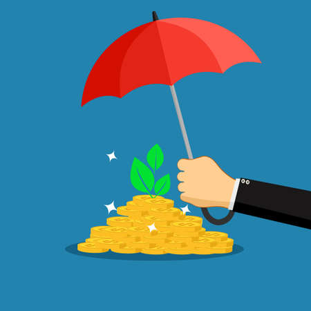 A businessman opens an umbrella to protect a pile of money. finance concept