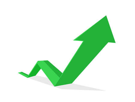 The green business arrow is going up. growth concept. growth vector