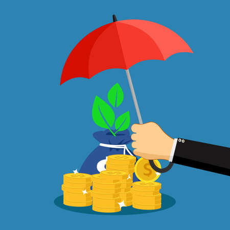 A businessman opens an umbrella to protect piles of money. finance concept