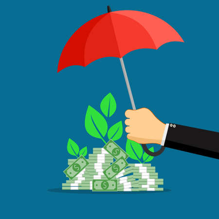 A businessman opens an umbrella to protect a pile of banknotes. asset protection concept. vector illustration
