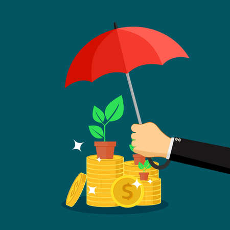 A businessman opens an umbrella to protect piles of money. money protection concept. vector illustration