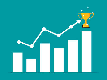 The graph is up and the trophy is placed on the arrow. business victory. vector illustration