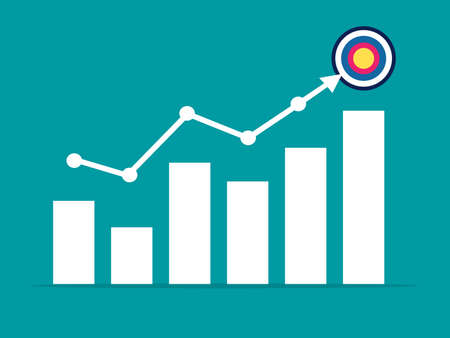 Place a target on the bar chart. goal oriented growth concept. vector illustration