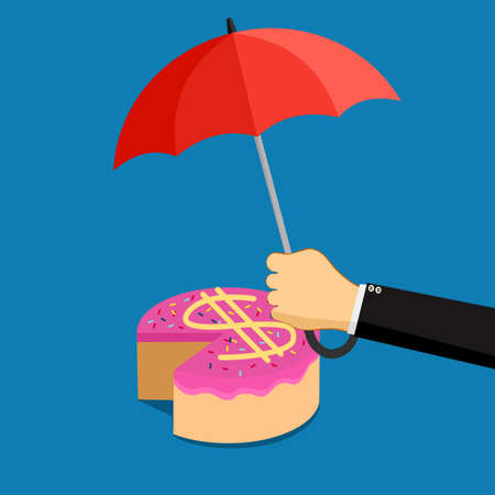 A businessman opens an umbrella to protect the money cake. Profit share protection concept. vector illustration Illusztráció