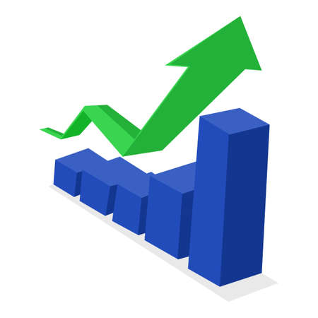 Green business arrow going up and bar graph. growth concept. vector illustration