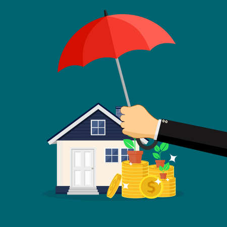 A businessman opens an umbrella to protect his home and money. vector