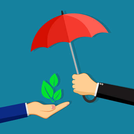 A businessman opens an umbrella to protect a tree. nature protection concept. nature vector