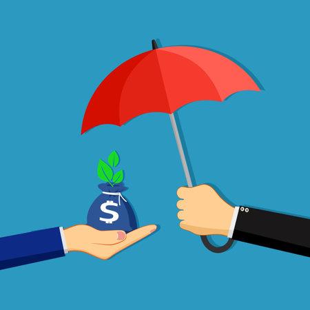 A businessman opens an umbrella to protect a bag of money. concept of protecting money. financial vector