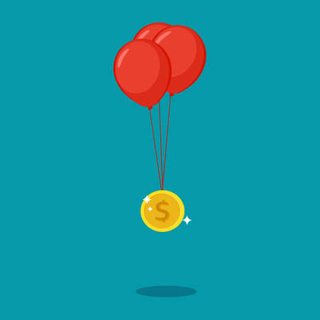 Coin float with balloons. floating money concept. financial vector illustration