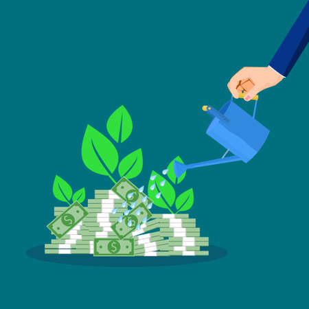 Businessman waters piles of banknotes and plants grow. profit growth concept. financial vector Illusztráció