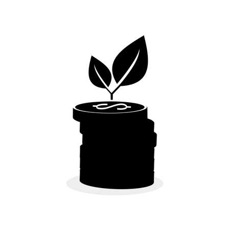 Money icon and growing tree. The concept of money grows. financial vector