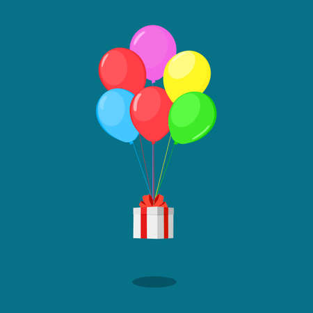 White gift box with multicolored balloons. Christmas and New Year Ideas. happy vector
