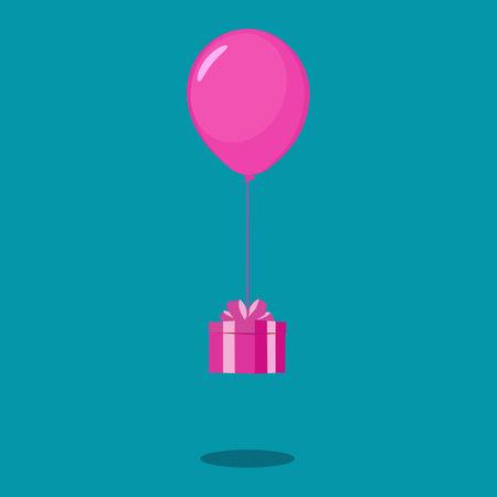 Gift box with balloons. Christmas and New Year concept. happy vector Illusztráció