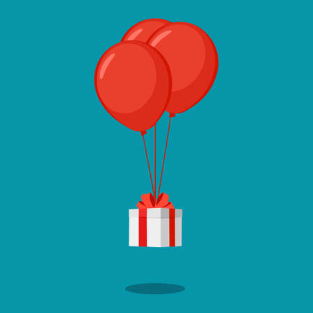 White gift box with red balloons and red ribbon. christmas and new year ideas. happy vector